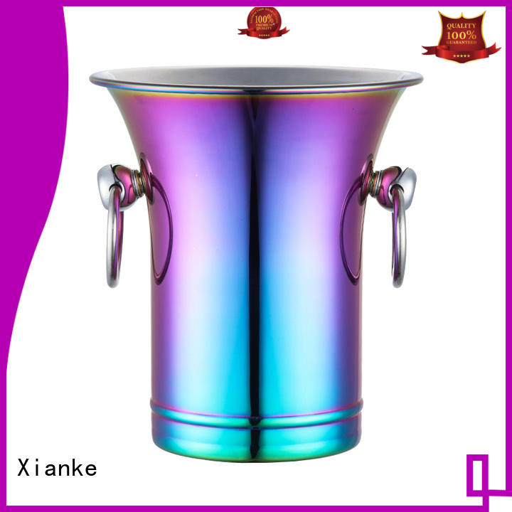 Stainless steel wine bucket with horn mouth and zinc-alloy loop handle in 2000ml design