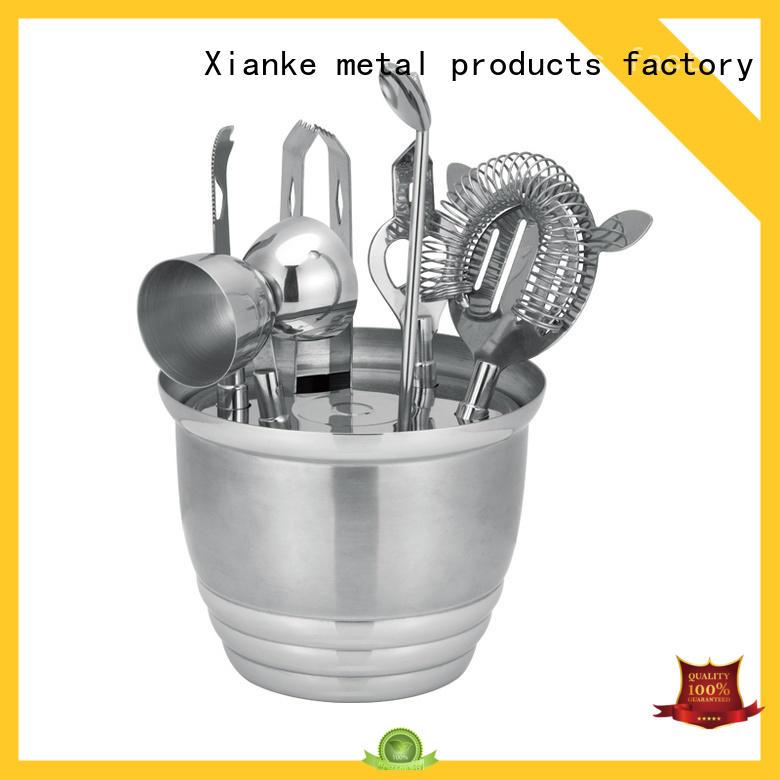 custom silver cocktail shaker set satin Xianke