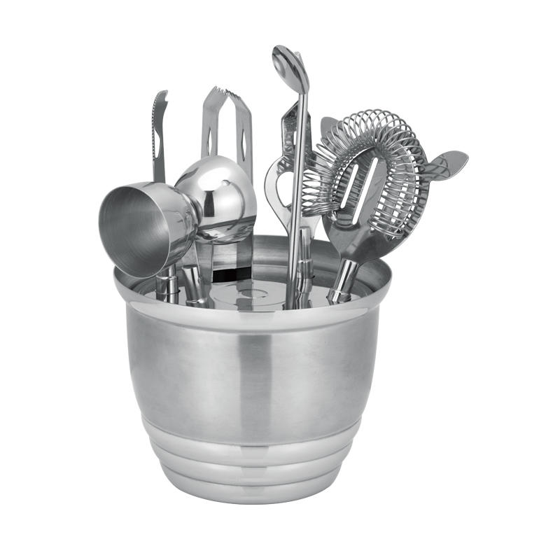 Stainless steel bartender cocktail mixing set with 1000ml ice bucket