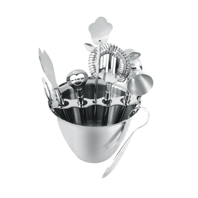 Stainless steel bartender set 8 piece set with 1000ml ice bucket