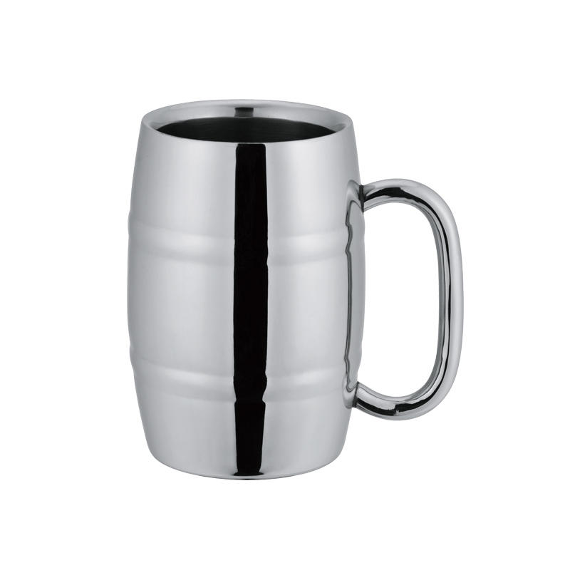 Stainless steel beer mug in barrel shape double wall design available in 8oz, 10oz, 16oz