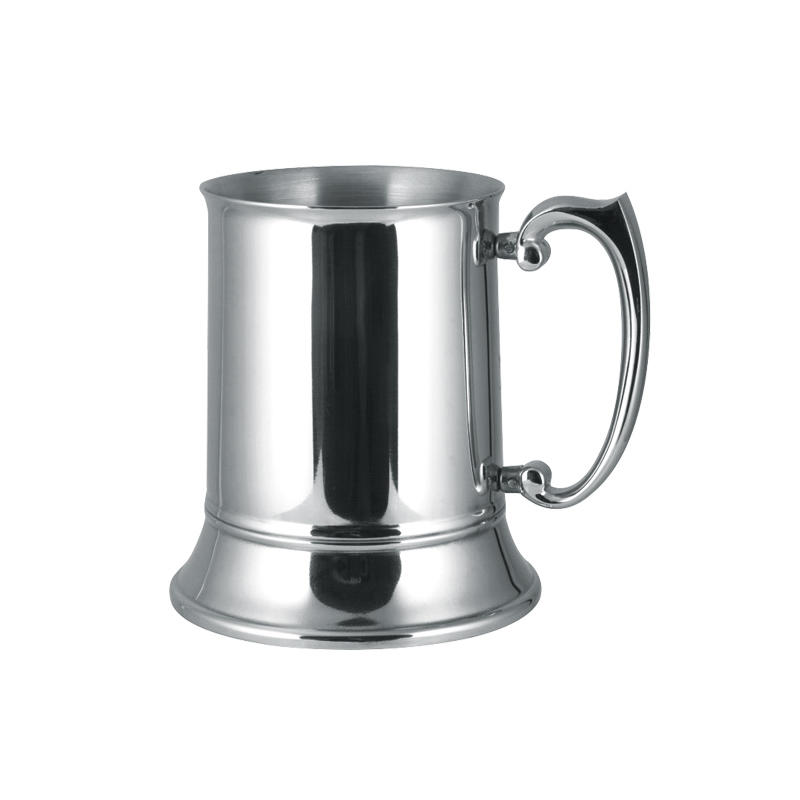 Stainless steel beer tankard 16oz double wall design with zinc-alloy handle