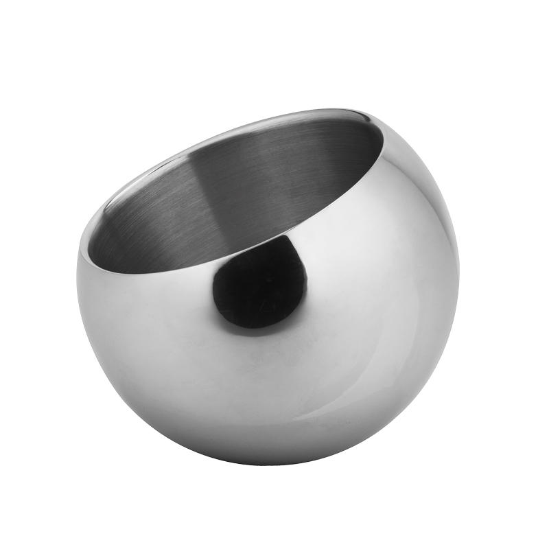 Stainless steel ball shaped ice bucket with ice tong and double walled design in 2000ml