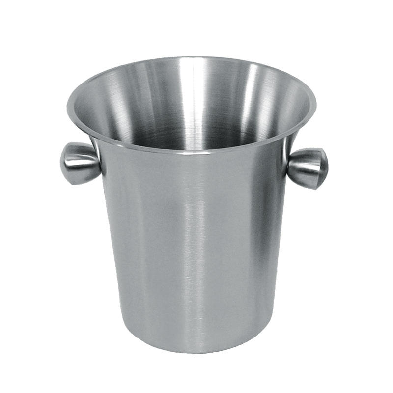 Stainless steel wine ice bucket with horn mouth and side handles in 3.5L design