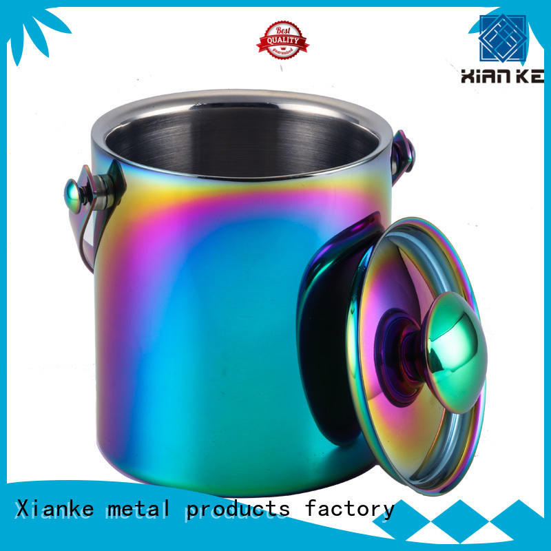Xianke durable personalized metal ice bucket zinc alloy for bar