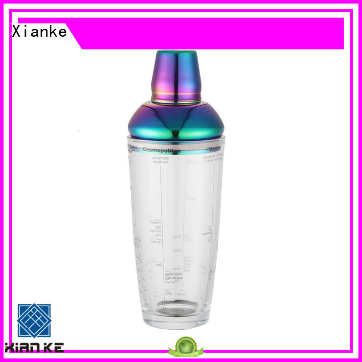 Xianke hot-sale stainless cocktail shaker chic design for vodka