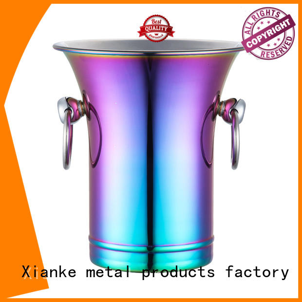 shaped personalized stainless steel ice bucket durable sloped for wine