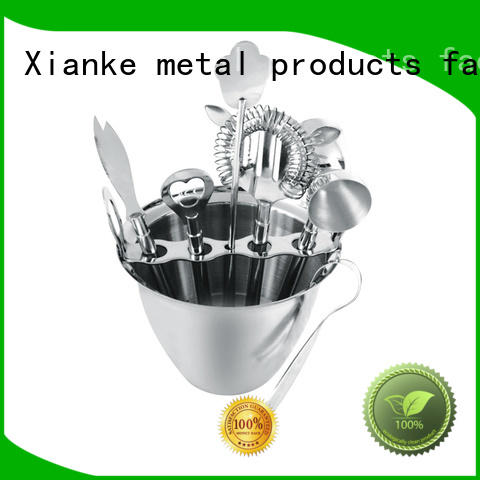 Stainless steel bartender set 8 piece set with 1000ml ice bucket
