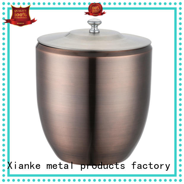 Xianke double walled ice bucket stainless top design for restaurant