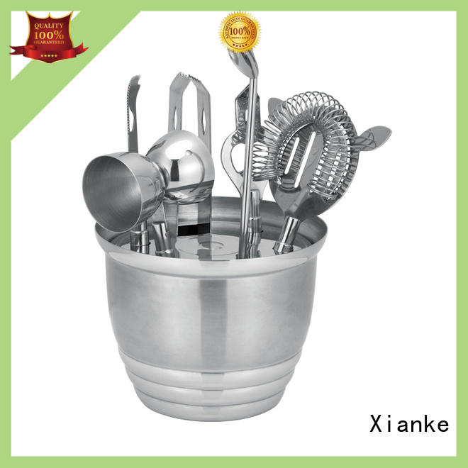 Xianke copper stainless steel cocktail set black bar ware
