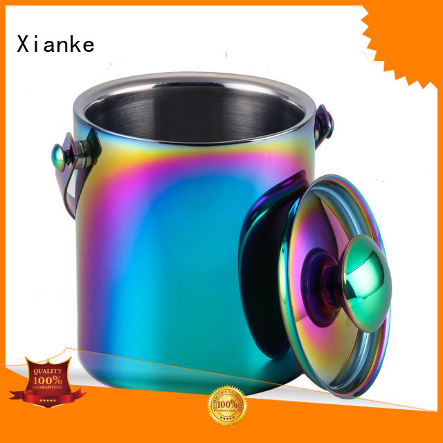 Xianke high quality stainless steel ice bucket on stand sloped for club
