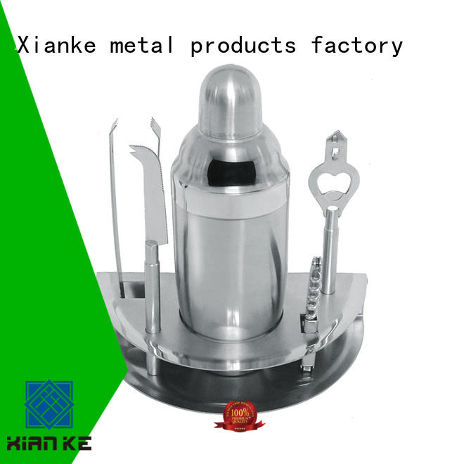 Xianke stainless steel cocktail shaker bar mixer set