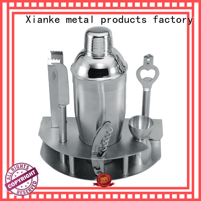 Xianke stainless steel silver cocktail shaker set unique for club
