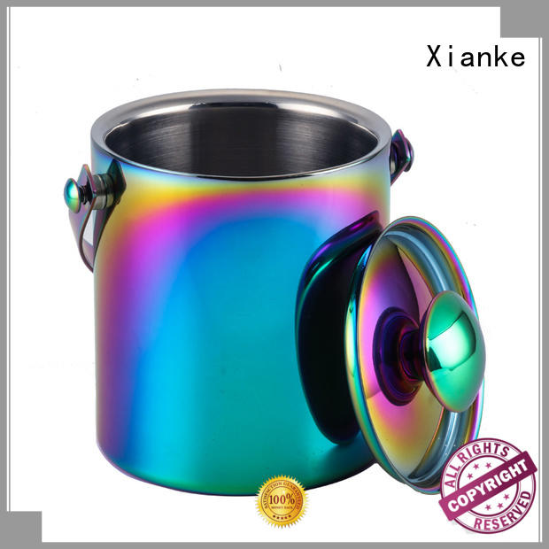 high quality personalized stainless steel ice bucket sloped for wine Xianke