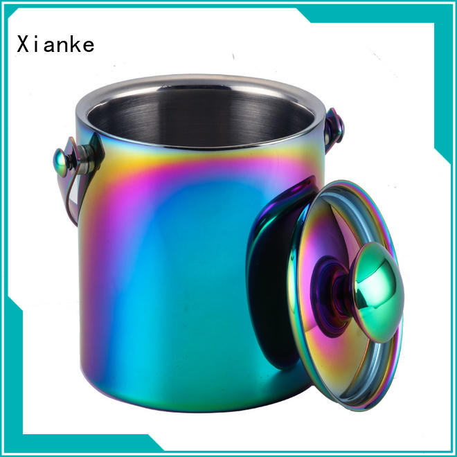 Xianke oval wine ice bucket stainless steel tong for wine