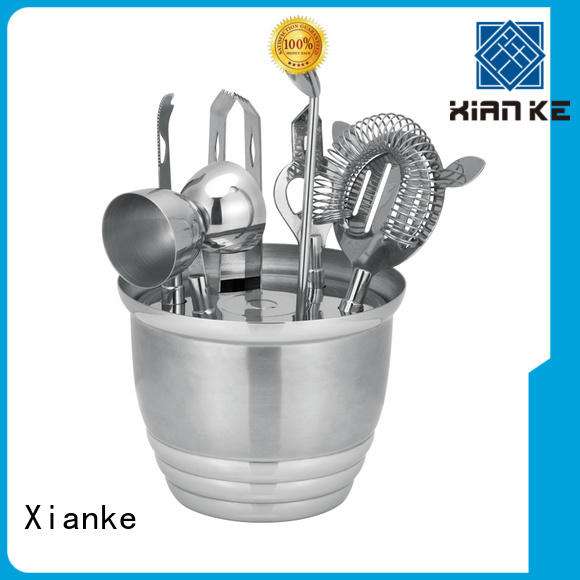 Xianke electroplated stainless steel cocktail set satin bar ware