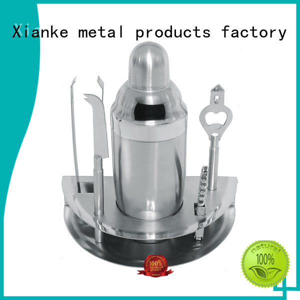 Xianke electroplated stainless steel cocktail shaker set bar ware