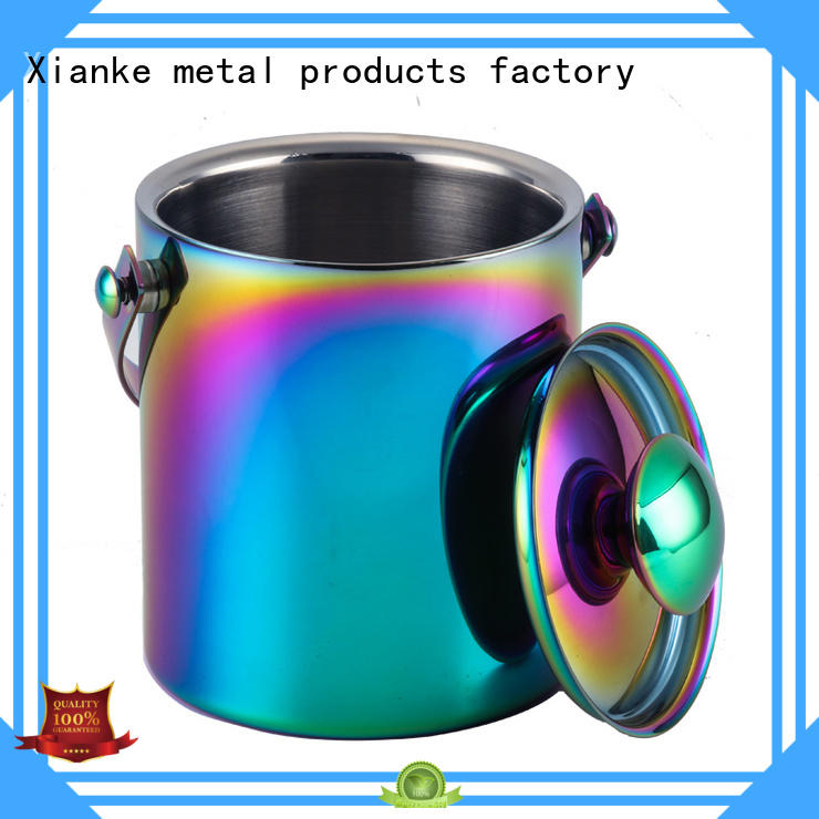 Xianke stainless steel personalized metal ice bucket with handles for party