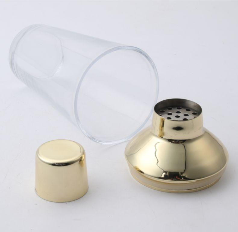 Stainless steel cocktail shaker with 500ml glass body and silicon gasket