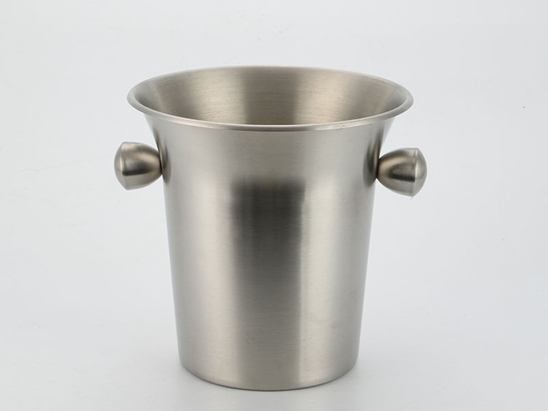 Stainless steel wine ice bucket with horn mouth and side handles in 3.5L design-4