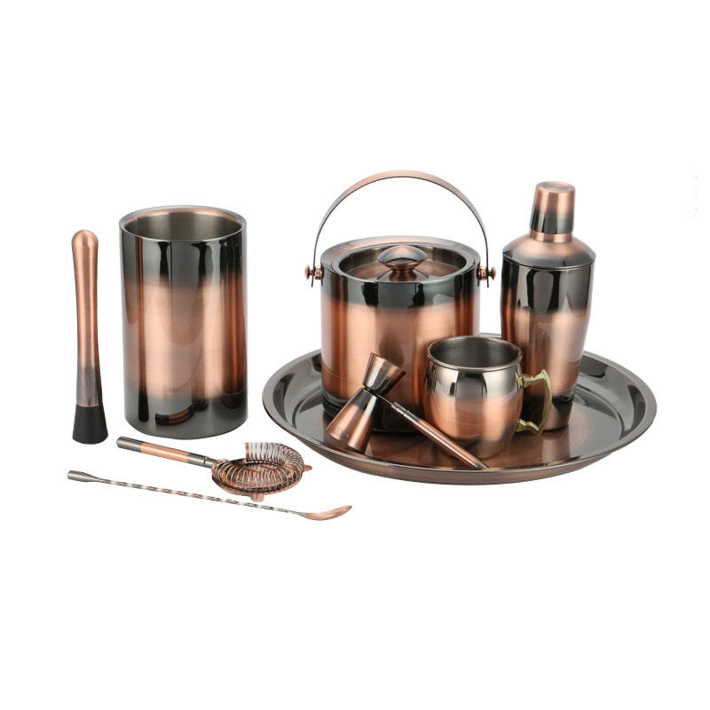 Stainless steel barware setcocktail shaker in vintage-copper electroplated finish
