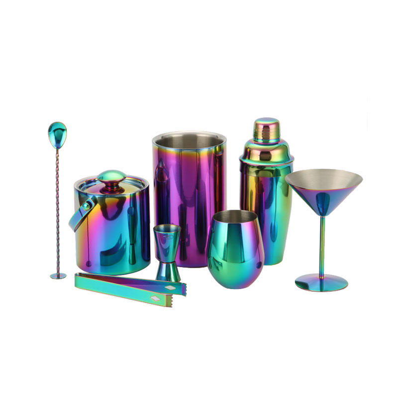 Stainless steel cocktail mixer barware set in vintage-copper electroplated finish