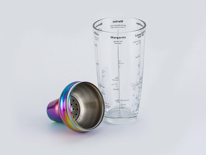 Stainless steel cocktail shaker with 700ml menu printing glass body