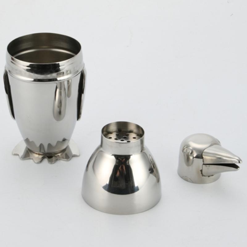 Stainless steel penguin cocktail shaker 300ml, 500ml