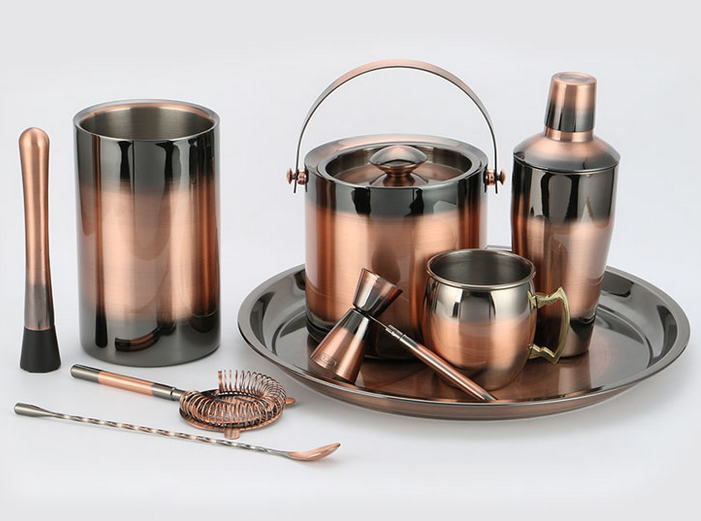 Stainless steel barware set cocktail shaker in vintage-copper electroplated finish