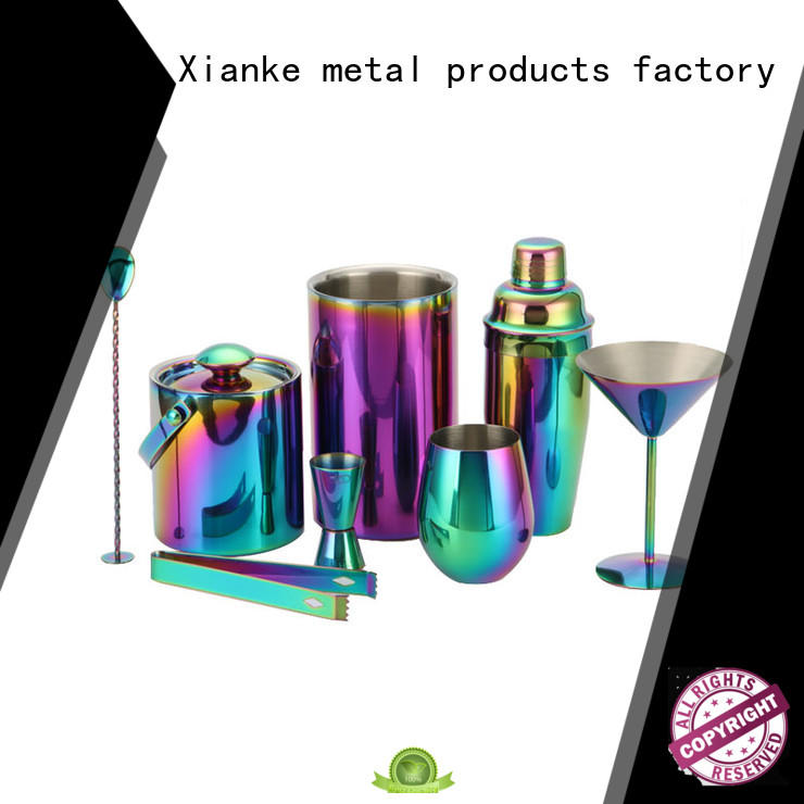 Xianke electroplated stainless steel cocktail shaker set mixing for bartender