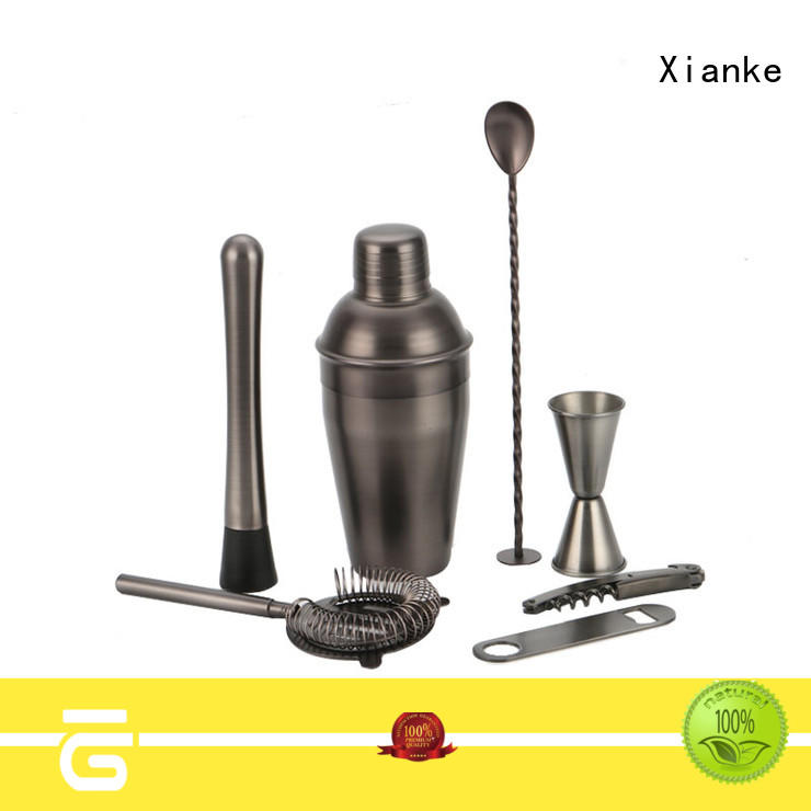 Xianke stainless steel bar set with shaker top brand for bartender