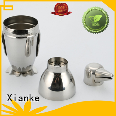 Xianke hot-sale stainless steel cocktail shaker chic design for cocktail