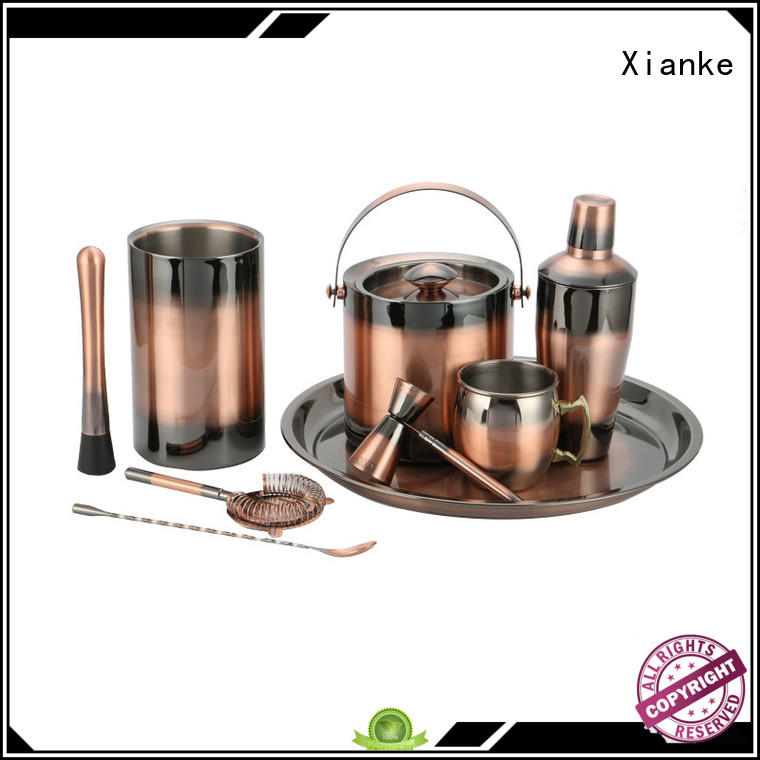 Xianke stainless steel bar set cocktail shaker finish for club