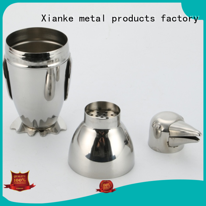 Xianke factory price stainless steel drink shaker novelty for cocktail