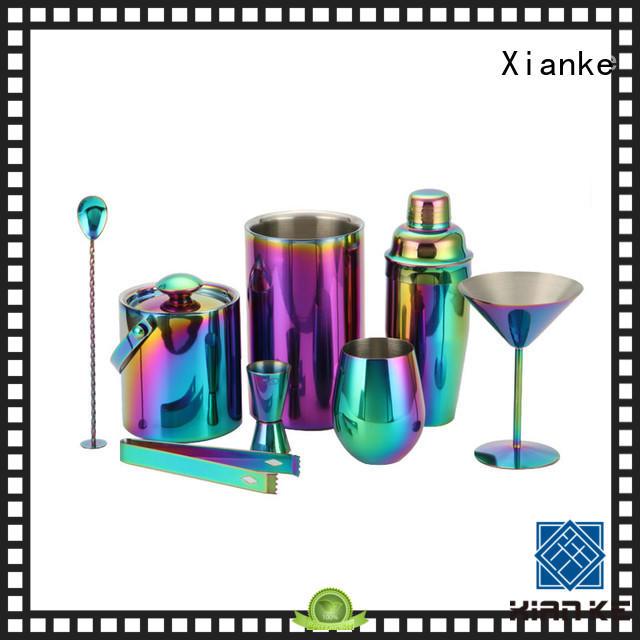 Xianke electroplated bar tool set satin bar ware