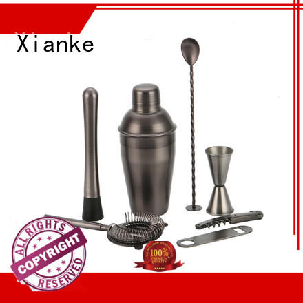 Xianke copper stainless steel cocktail shaker set custom bar ware