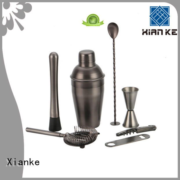 Stainless steel cocktail mixing set  in gunblack satin electroplated finish