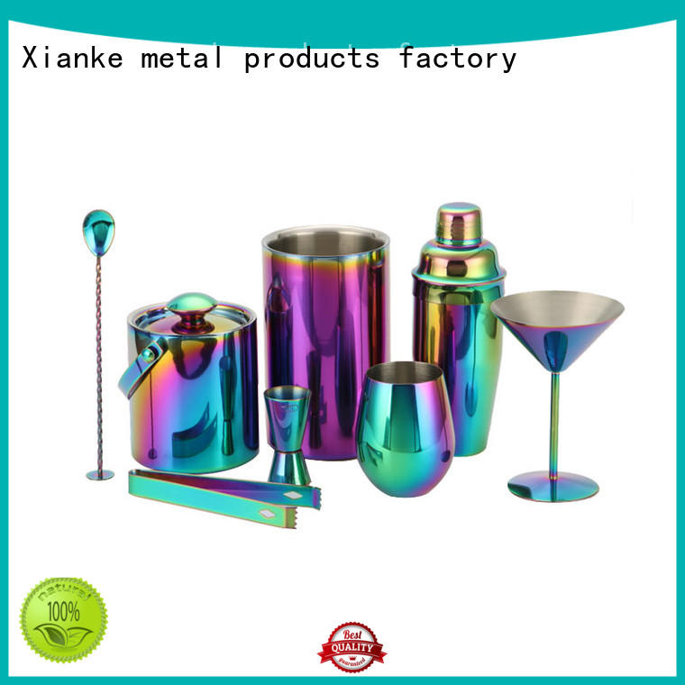 Xianke copper martini shaker set stainless steel mixing bar ware